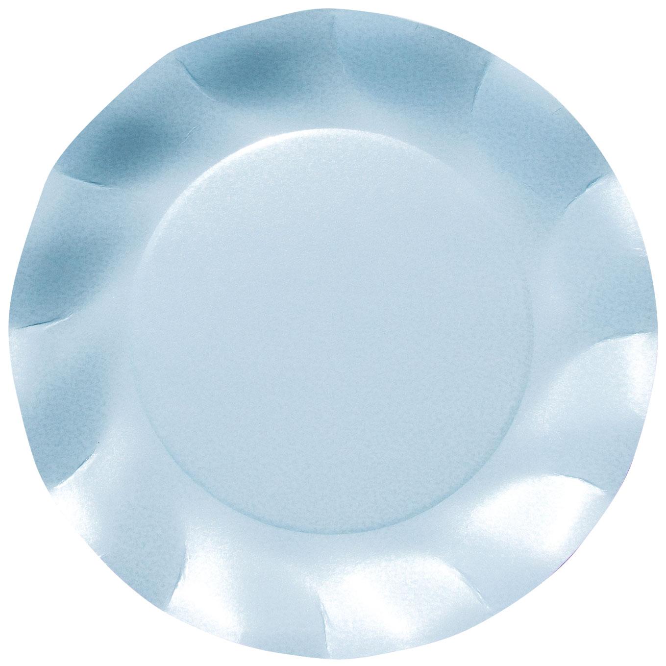 Stor tallrik Vågig kant Ljusblå pärlemo