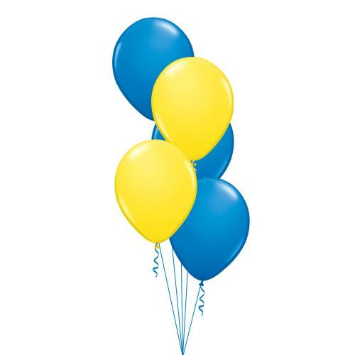 Ballongbukett med tre blå latexballonger och två gula