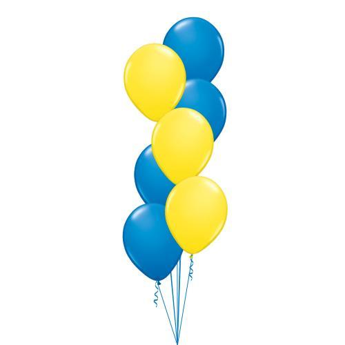 Ballongbukett med sju stycken 28 cm latexballonger i gult och blått
