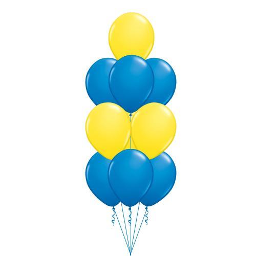 Ballongbukett med 10 st gul och blå latexballonger 28 cm