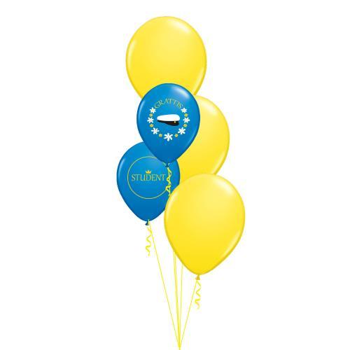 Tre stora gula latexballonger och två blå latexballonger med studentmotiv