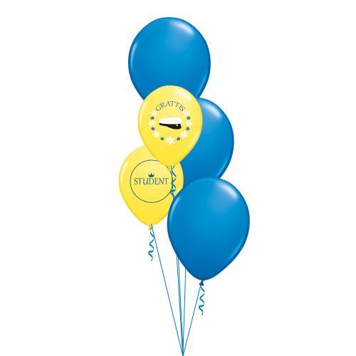 Tre stora blå latexballonger och två normalstora gula latexballonger med studentmotiv