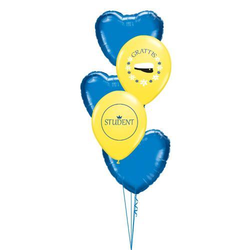 Ballongbukett med tre blå foliehjärtan samt två gula latexballonger med studentmotiv