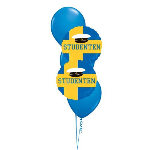 Ballongbukett med tre st blå latexballonger och två folieballonger med studentmotiv