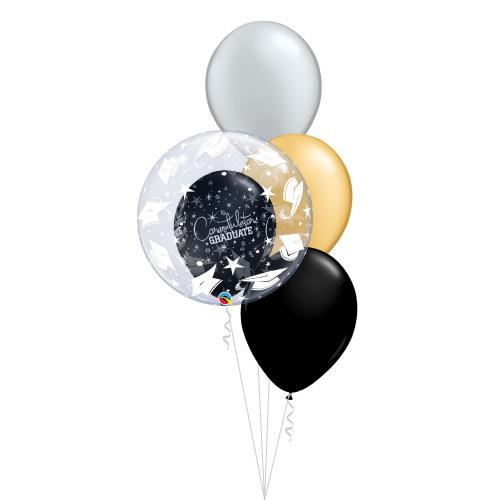 ballongbukett med tre metallic latexballonger svart guld silver och en klotrund ballong