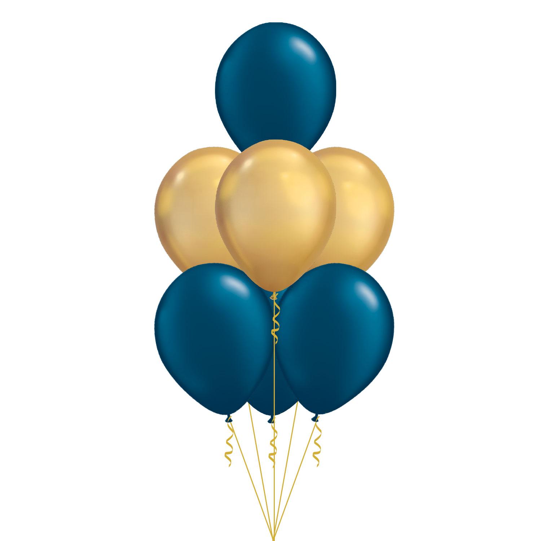 Ballongbukett med latexballonger i metallic mörkblå och guld