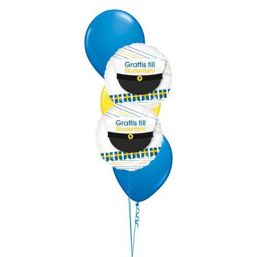 Ballongbukett med tre blå och gula latexballonger samt två vita folieballonger med studentmössa på