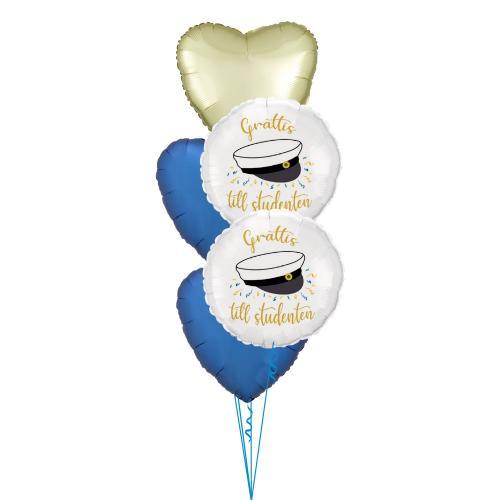 Ballongbukett med blå och ljusguld foliehjärtan samt samt runta folieballonger med studentmössa