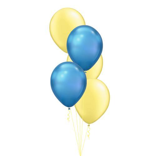 Ballongbukett med sex st fina metallic latexballonger i gult och blått