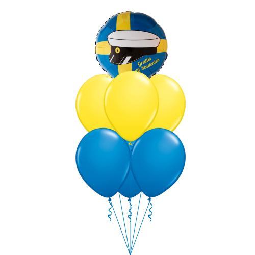 ballongbukett med blåa och gula latexballonger och en folieballong med studentmössa
