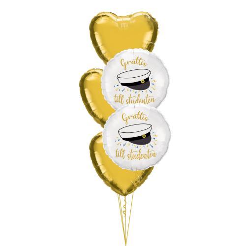Heliumfylld ballongbukett med foliehjärtan i guld och vita runda folieballonger med en studentmössa på