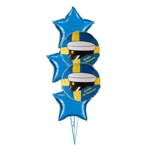 Heliumfylld ballongbukett med foliestjärnor och runda folieballonger med en studentmössa