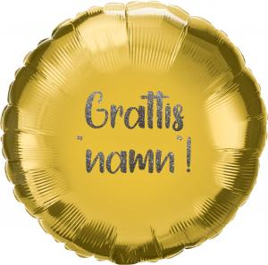 Heliumfylld Utspringsballong 90 cm Guld inkl personlig text