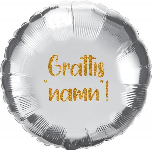 Heliumfylld Utspringsballong 90 cm Silver inkl personlig text