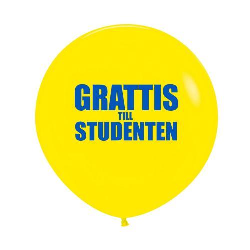 "Gul 60 cm latexballong med texten ""Grattis till studenten"""