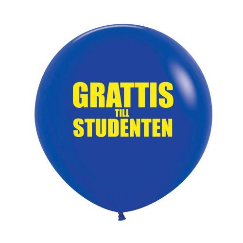 "Blå 60 cm latexballong med texten ""Grattis till studenten"""