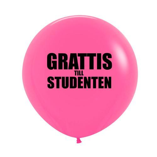 """Rosa 60 cm latexballong med texten """"Grattis till studenten"""""""