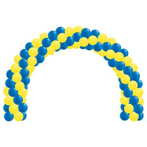Ballongbåge med gula och blå ballonger