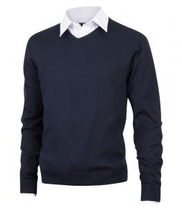 Cotton sweater V-neck dark blue