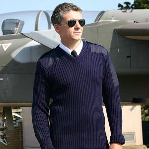 Natotröja Blå V-Ringad