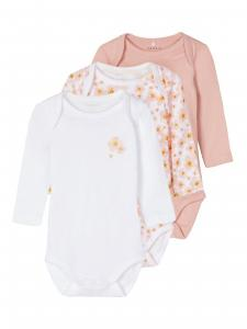 NAME IT 3-PACK LÅNGÄRMAD BODY MED BLOMMOR