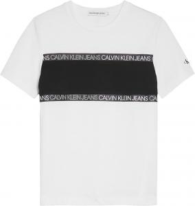 CALVIN KLEIN LOGO TAPE COLOUR BLOCK T-SHIRT
