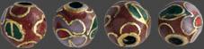 Emaljerad pärla rostfärg med färger, 6 mm 4 stycken. Hålstorlek ca 1,5 mm.