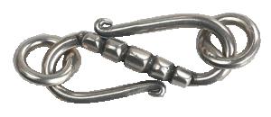 Lås S-krok Sterlingsilver oxiderat med två bindringar