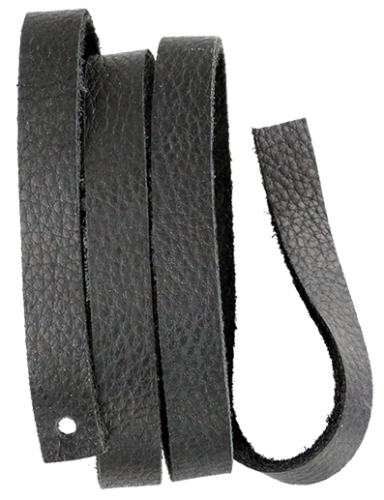 Läderrem 10 x 600 mm svart,  mjukt koläder.