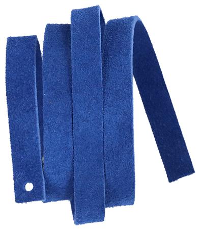 Läderrem 10 x 600 mm blå matt,  mjukt koläder.