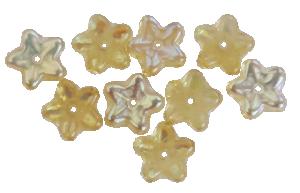 Glasblomma bärnsten med delvis pärlemor 10 st, ca 9mm med hål