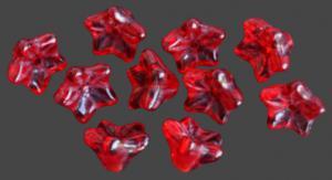 Glasblomma röd stjärna 10st, ca 9mm med hål