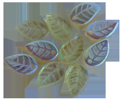 Glasblad guldton pärlemor 10st, 12mm med hål