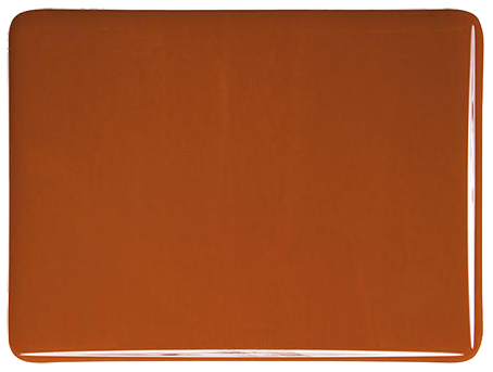 Mörk orangebrun 3 mm Opalescent ca 25x21 cm Bullseye COE 90