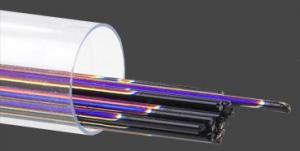 Stringers 1mm, obs 12st., dichroiskt regnbågsfärgat på svart glas.