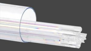 Stringers 2mm, dichroiskt regnbågsfärgat på klart transparent glas, 6st.