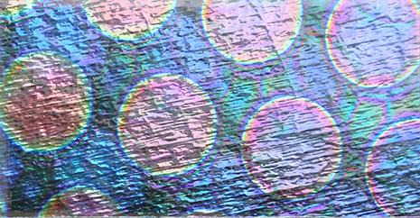 Dichroiskt fusingglas 5x10 cm på klart glas. 2mm. COE90