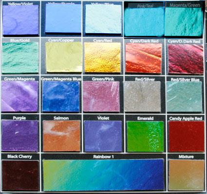 Dichroisk färgkarta 23 olika på svart. koefficient 90.