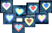 Dichroiska hjärtan ca 1x1 cm olika färgställningar på klart glas COE 90