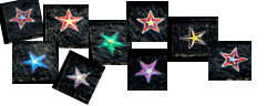 Dichroisk stjärna 1x1 cm. Blandat utseende.