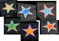 Dichroisk stjärna ca 2,5x2,5cm, blandat utseende.