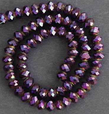 Glaspärlor facetterad rondell 6,5x4,5 mm Brunlila