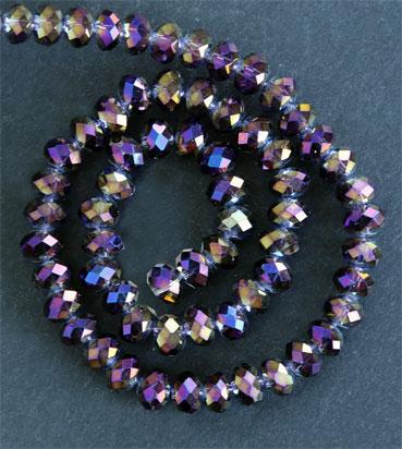 Glaspärlor facetterad rondell 6,5x4,5 mm Brun / Ametist