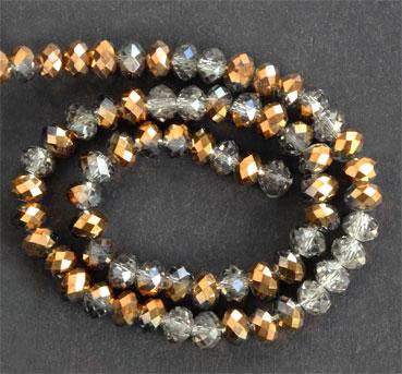 Glaspärlor facetterad rondell 6,5x4,5 mm Grå / Brons