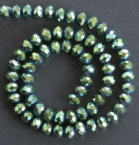 Glaspärlor facetterad rondell 6,5x4,5 mm Grön