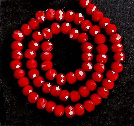 Glaspärlor facetterad rondell 6,5x4,5 mm. Röd