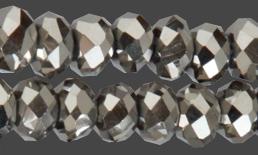 Glaspärlor facetterad rondell 6,5x4,5 mm. Silverfärg