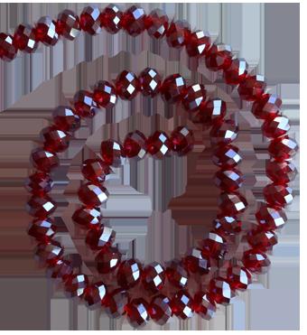 Glaspärlor facetterad rondell 6,5x4,5 mm mörkt vinröd