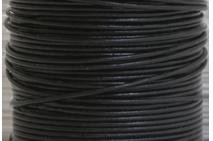 Läderrem 1 mm svart rund. Pris per meter.
