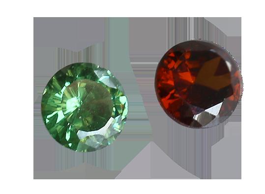 Zirkonia grön 6 mm rund brilliantslipad